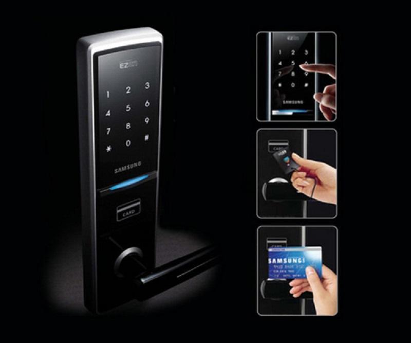 Khóa cửa điện tử thực chất là một thiết bị sử dụng hệ thống mật mã để mở cửa